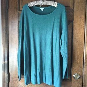 J. Jill Teal Tunic Style Sweater w/Zippers 3X